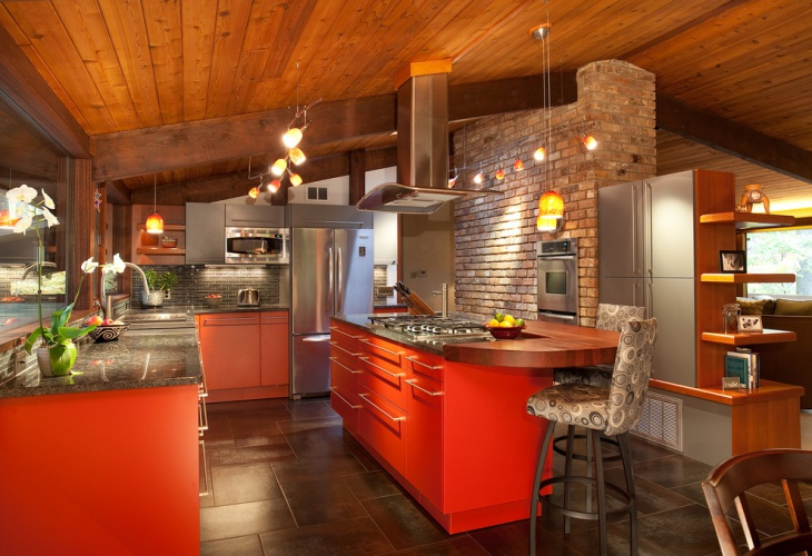 Contemporary Kitchen with Stone Wall