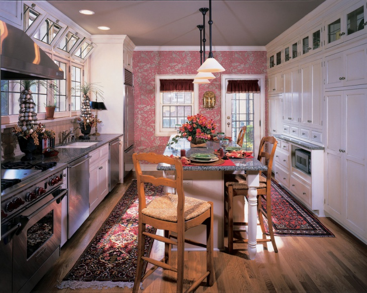 Simple Kitchen with Pink Decorative Wall