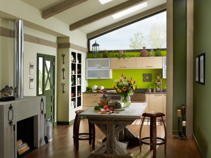 Bold Green Accent Wall Kitchen
