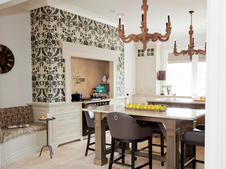 Transitional Kitchen with Designed Wallpaper