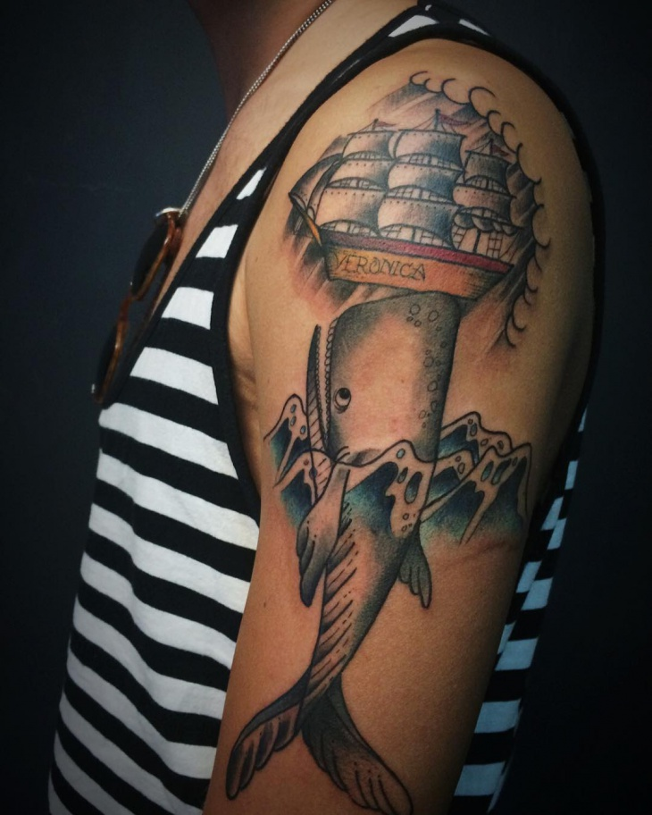 Ship Tattoo with Whale