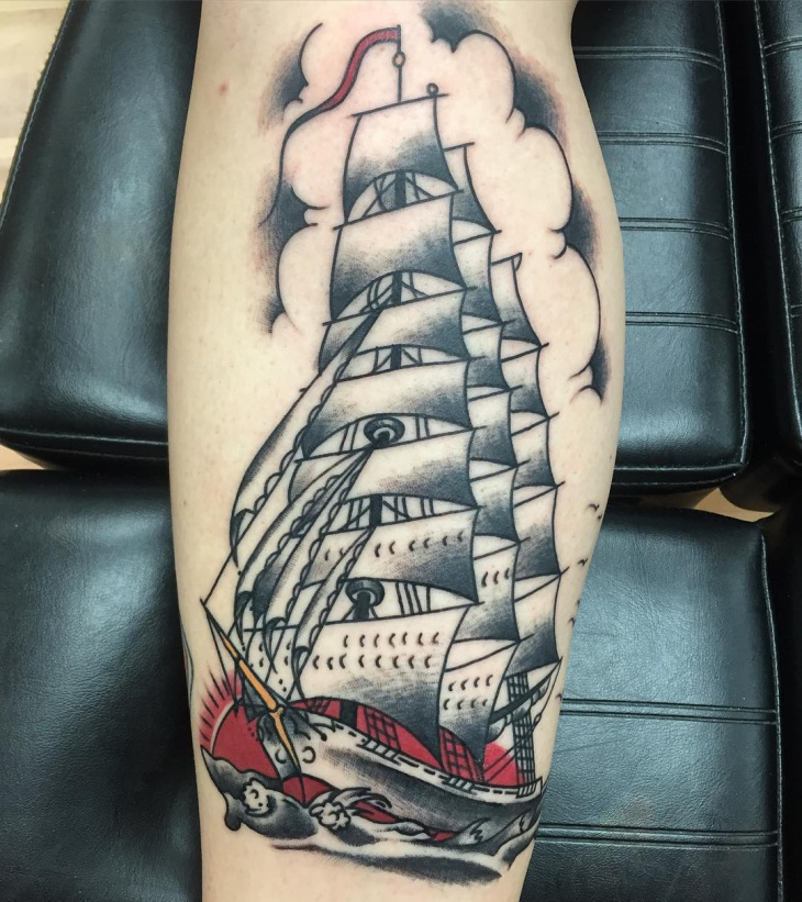 Black and Red Sailor Ship Tattoo