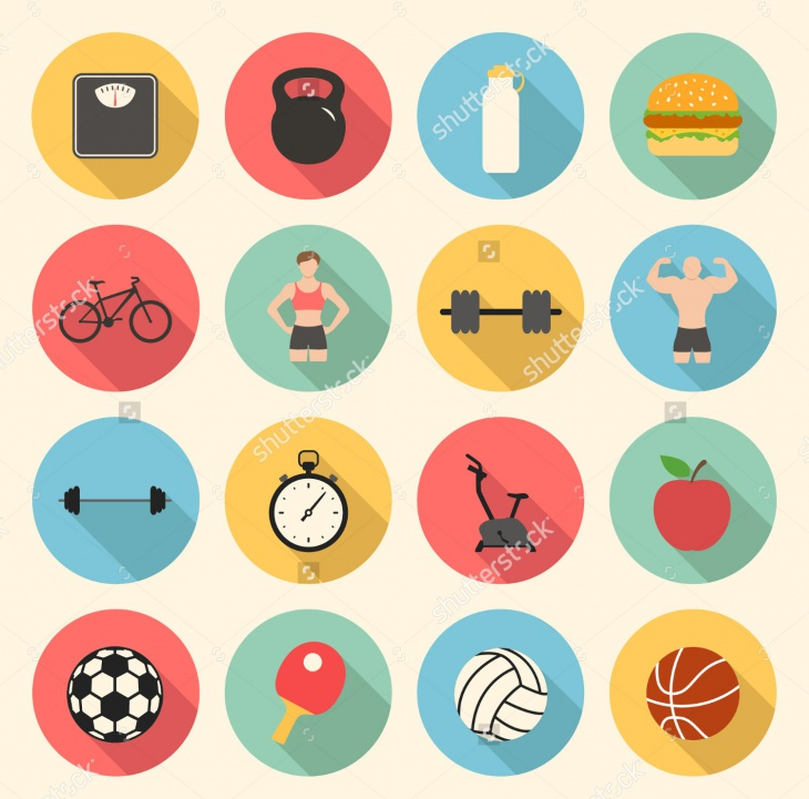 Fitness Sports and Health Flat Icons