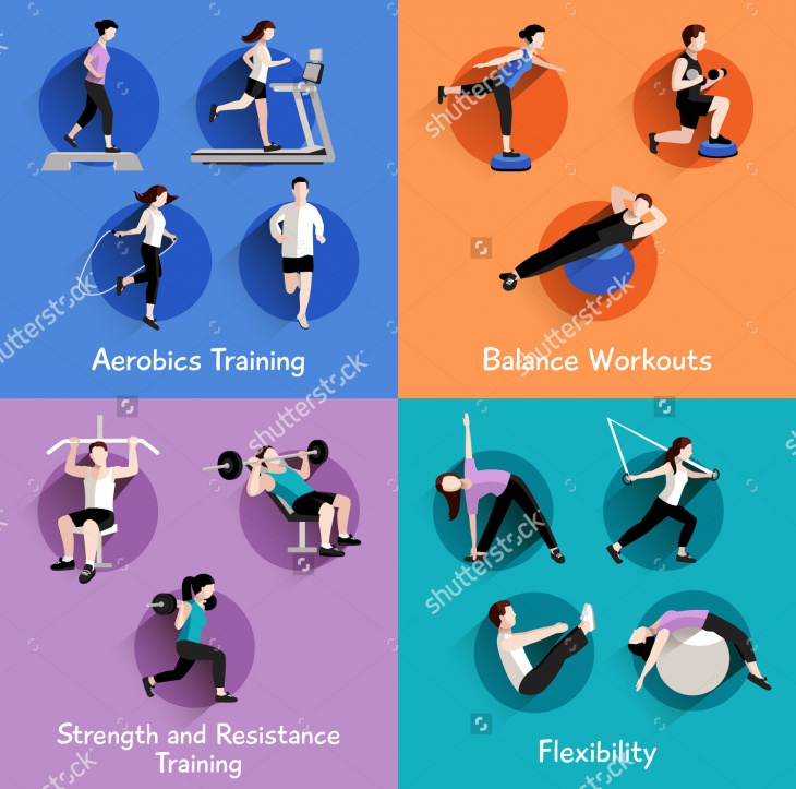 Fitness Aerobic and Body Shaping Icons