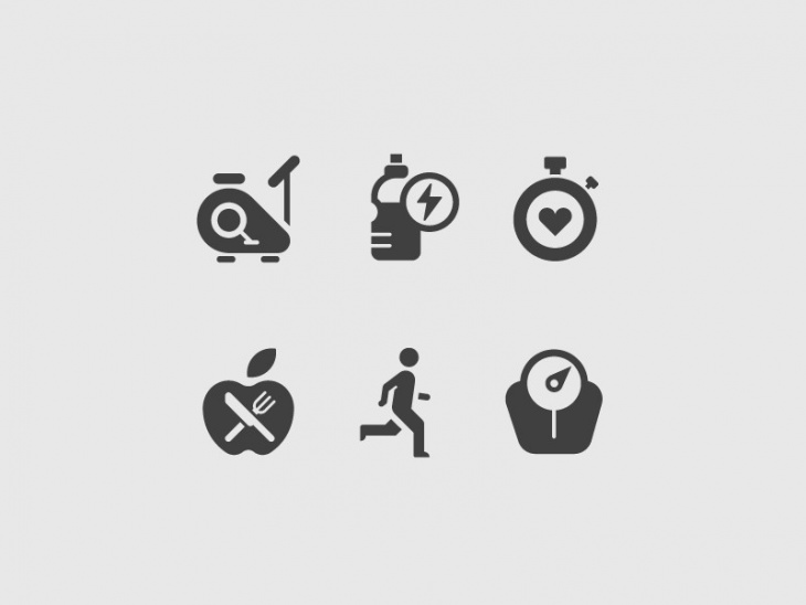 Simple Fitness Icons Set
