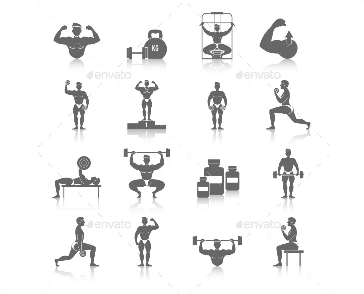 Black Color Body Building Icons