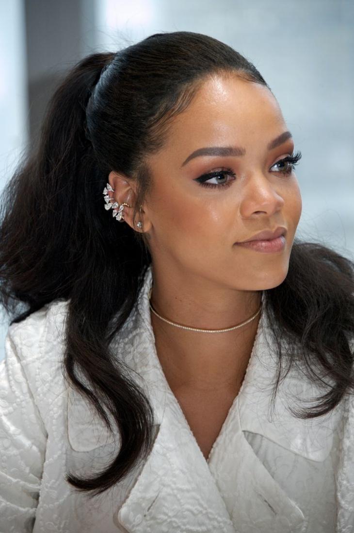 Rihanna Black Messy Ponytail
