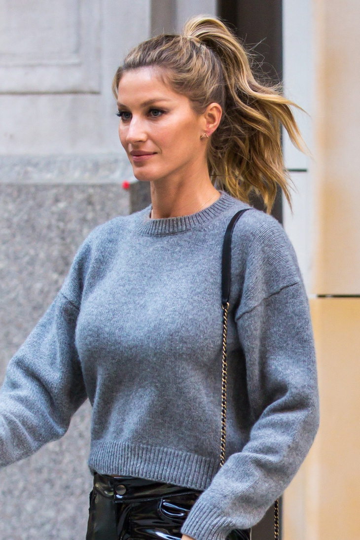 Gisele Bundchen High Messy Ponytail
