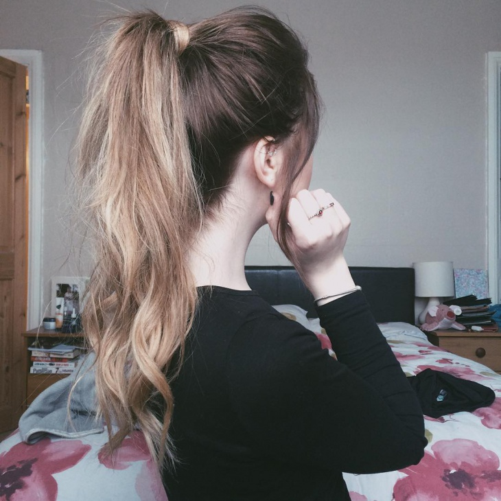 High Layered Messy Ponytail