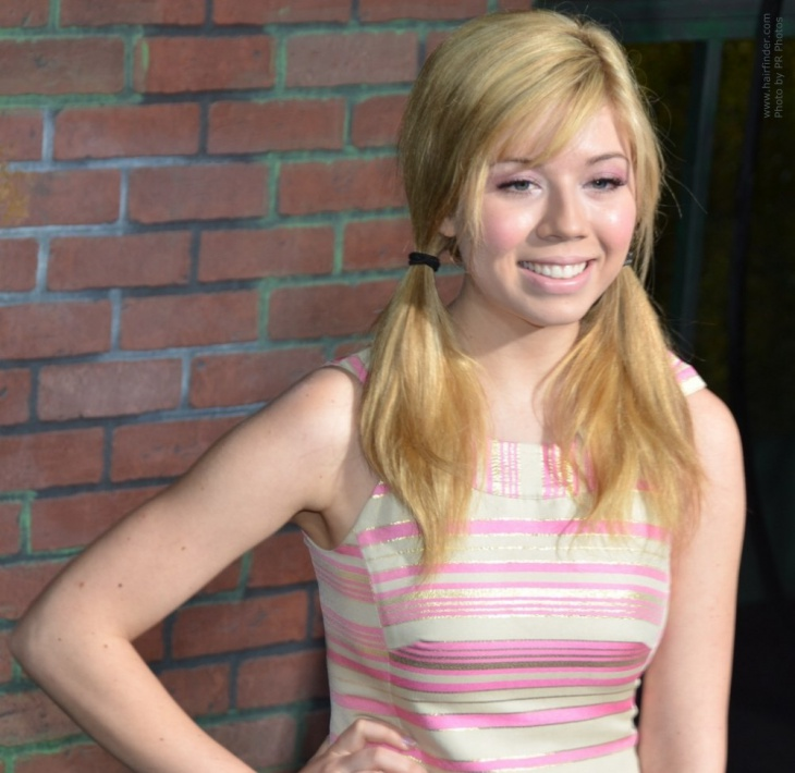 jennette mccurdy parted pigtail hairstyle