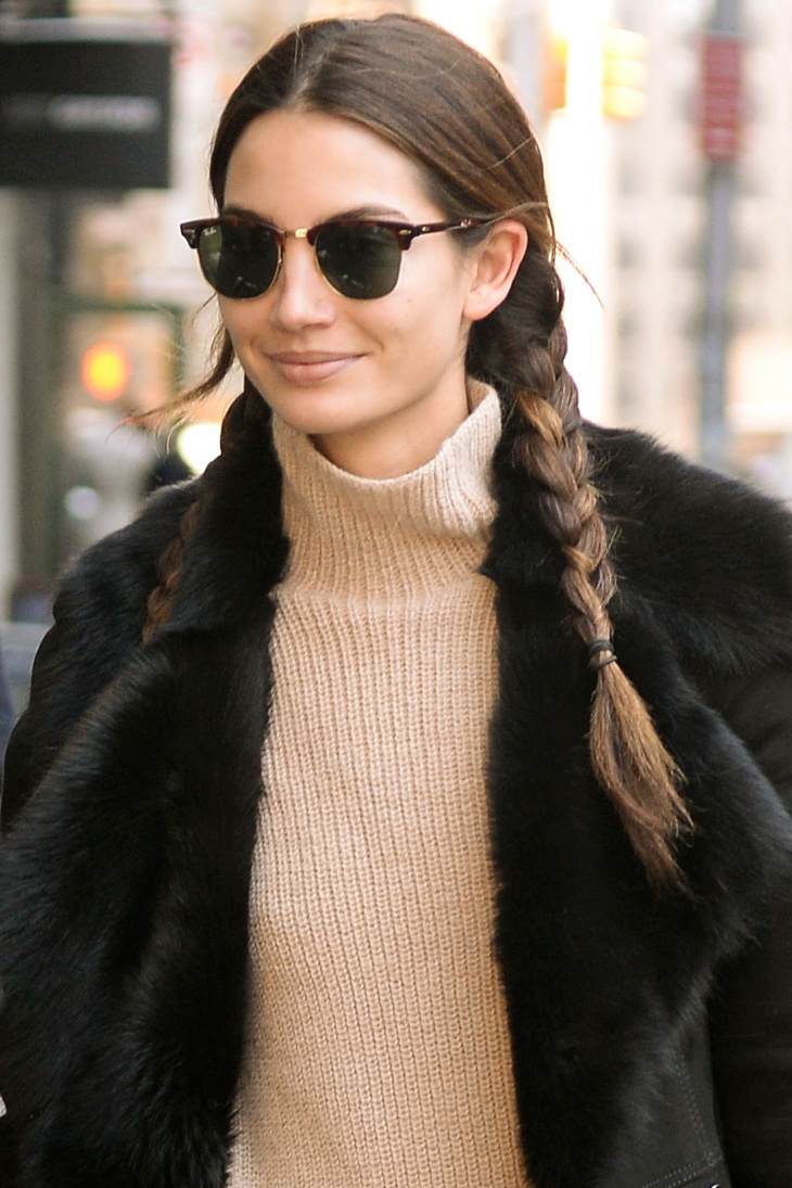 Lily Aldridge Pig Braid Hairstyle