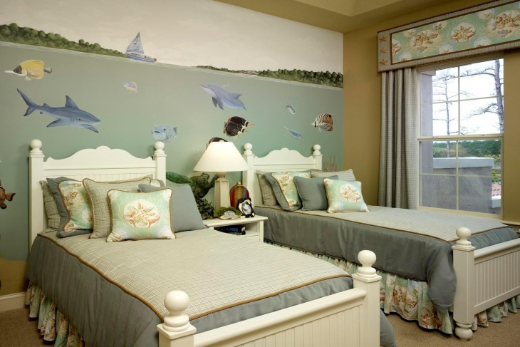 individual double beds with sea based wall paint