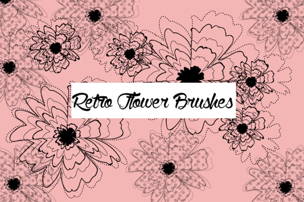 retro flower brushes