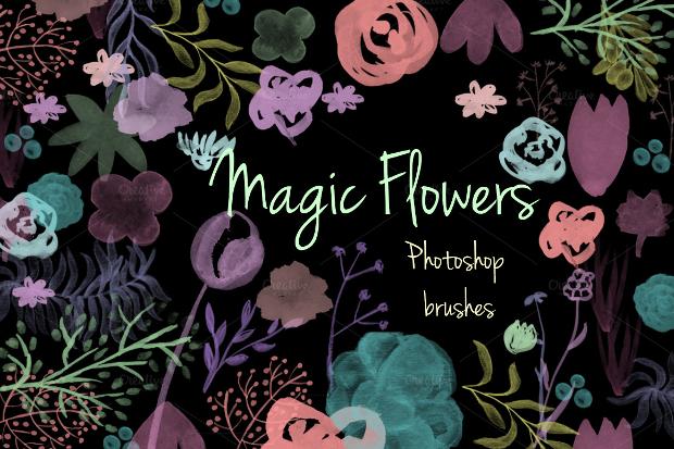 magic flowers photoshop brushes