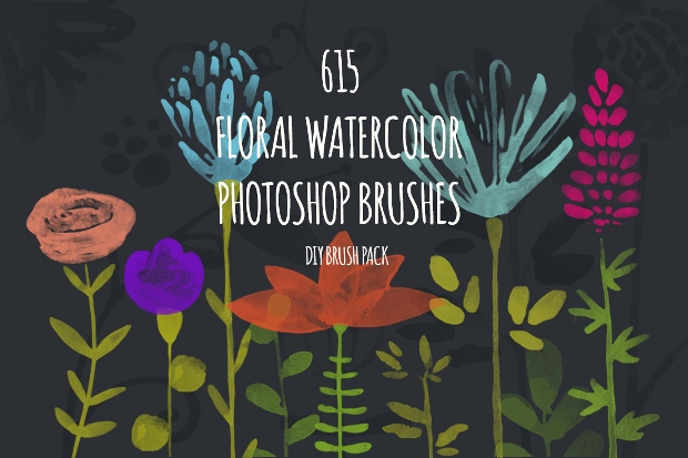 colorful floral brushes pack