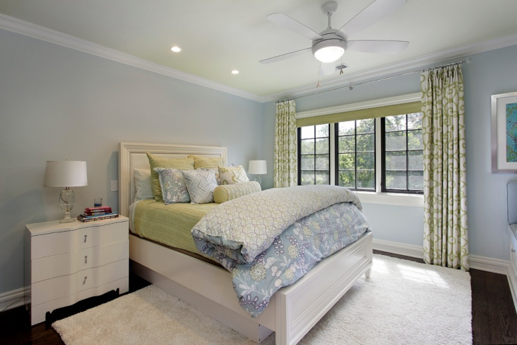 Blue and White Contemporary Bedroom
