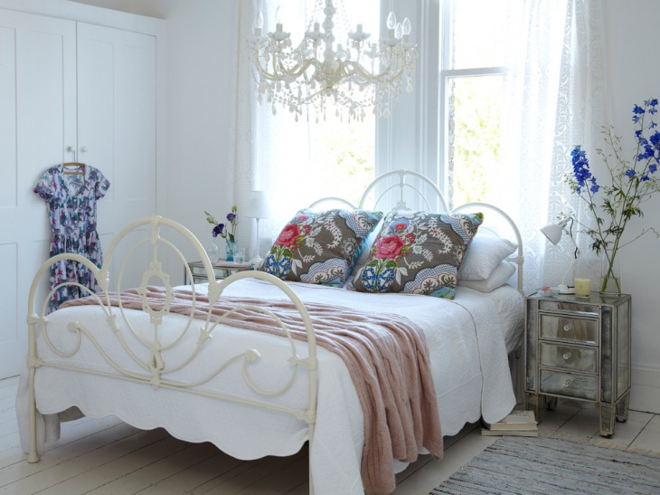 Shabby Chic Style Bedroom with Chandelier