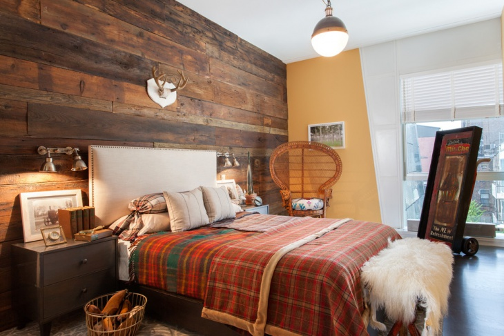 Wood Wall Bedroom with Highly Decor
