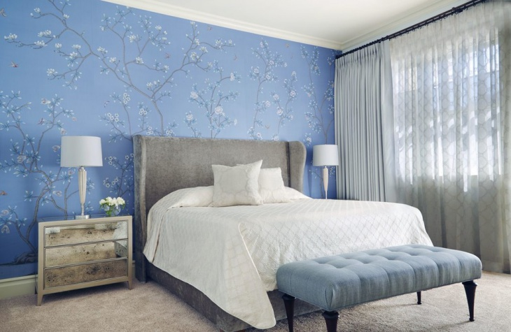 Blue Bedroom with Best Flower Wall Design