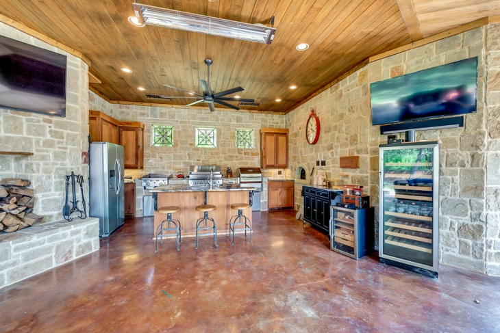 Rustic Stone Wall Kitchen Design