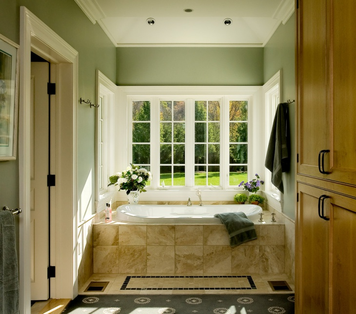 Small Traditional Bathroom with Enclosed Tub