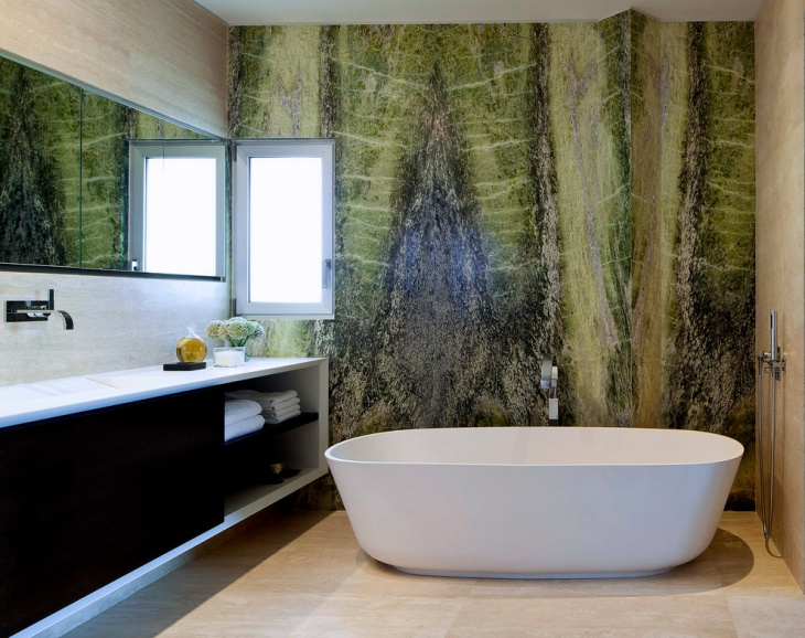 Contemporary Bathroom with Green Wallpaper