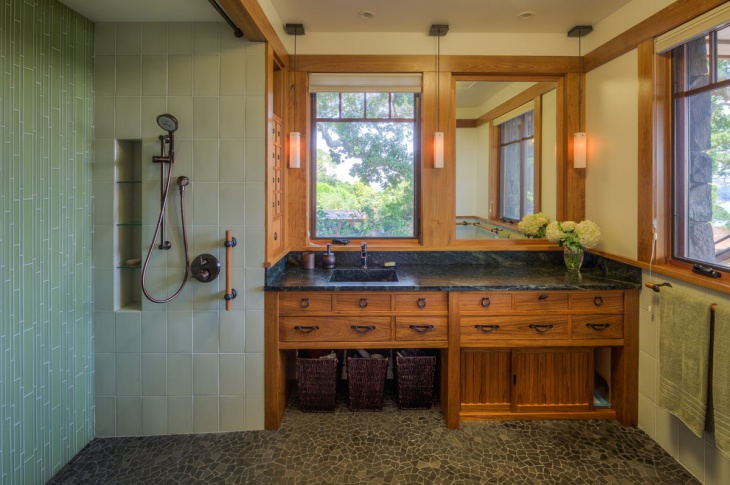 Unique Bathroom with Black Countertop