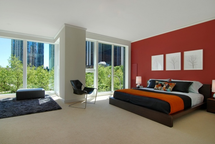 Red and Black Bedroom Interior Design