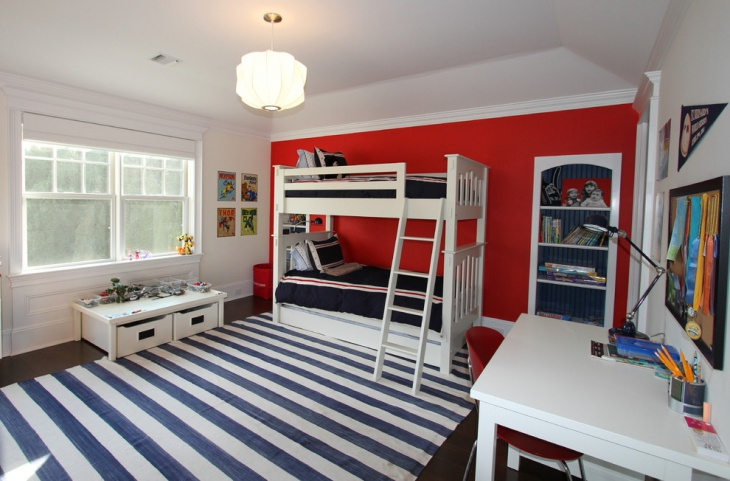 Kids Red and White Bedroom