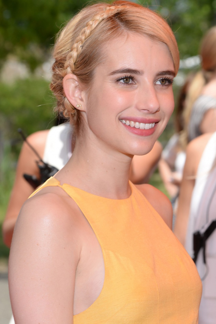 emma roberts with halo braid bun