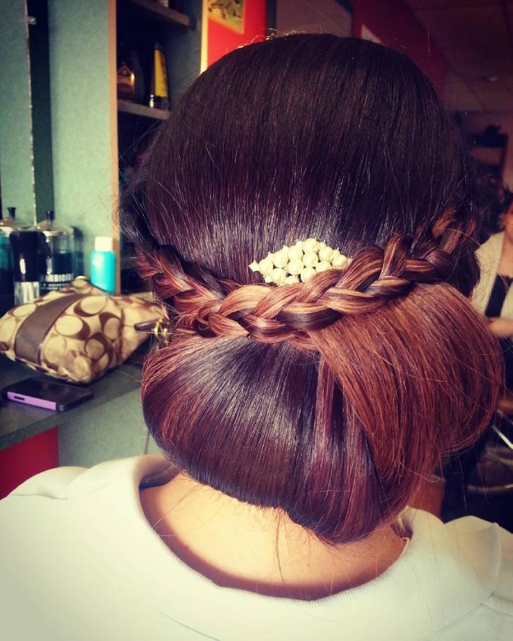 classy braided bun hairstyle