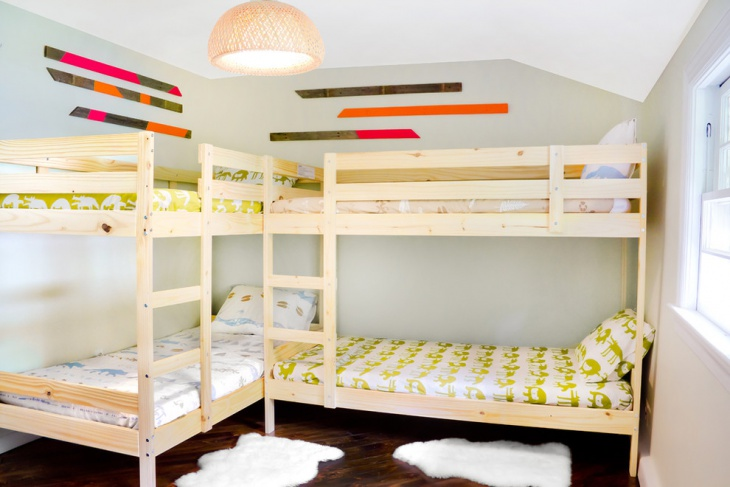 White L- Shaped bunk beds