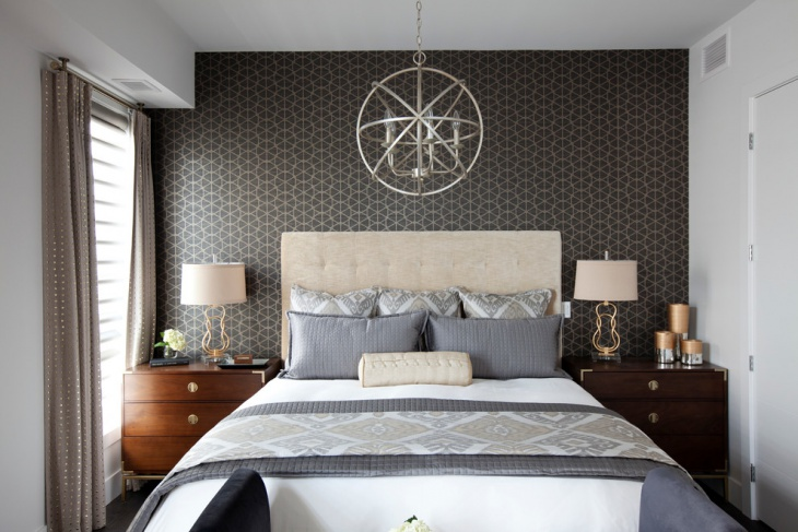 transitional bedroom with decorative wall