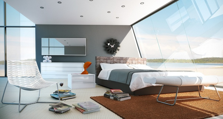 sleek corner bed design
