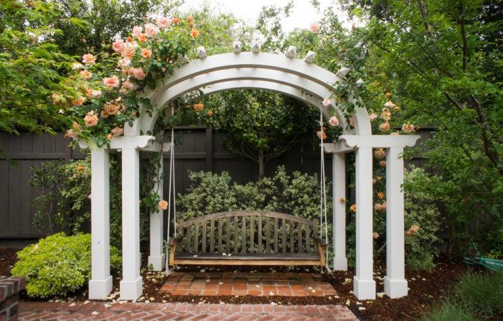 Floral White Garden Arbor