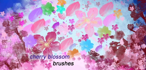 High Resolution Cherry Blossom Brushes