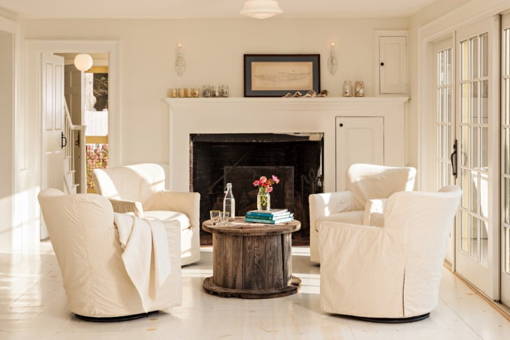 Beach Style Sunroom white Flooring Idea