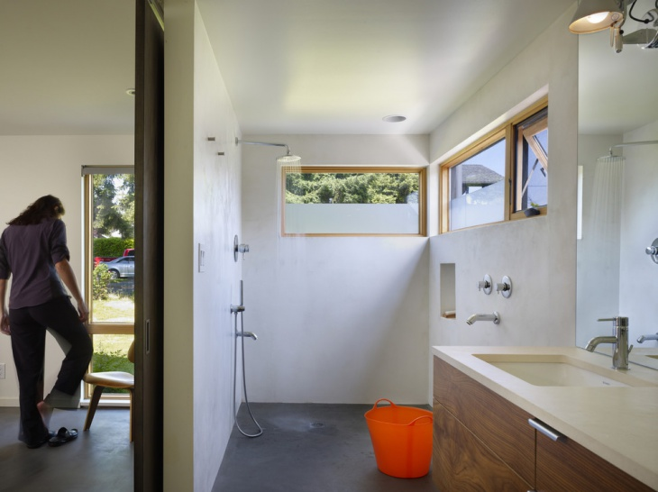 White Open Bathroom Shower Idea