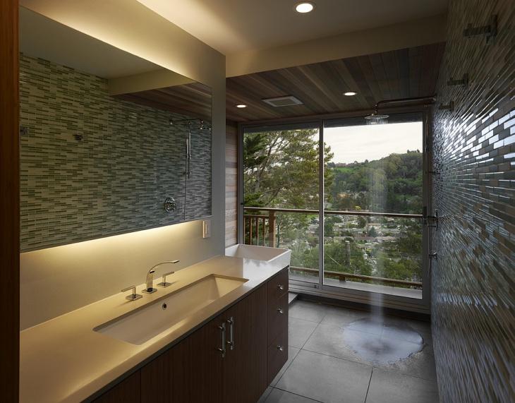 open shower backsplash