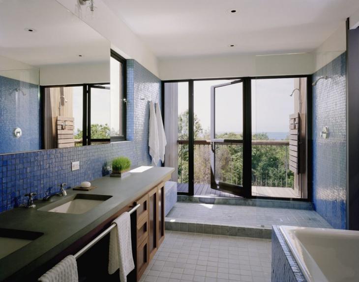 blue open shower tiles
