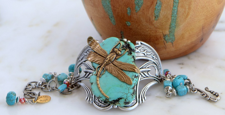 copper focal turquoise bracelet