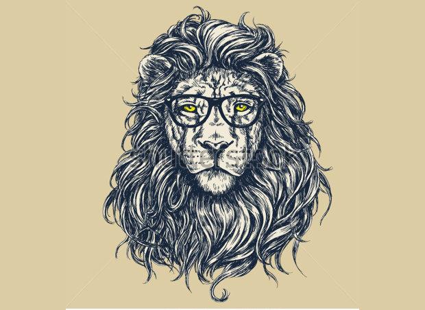 Hipster Lion Vector Illustration