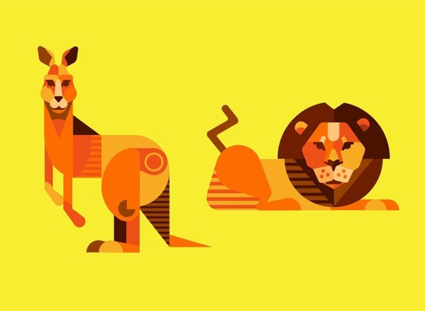 Lion and Kangaroo Vector