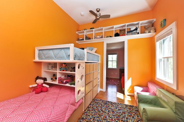 orange wall kids bedroom storage idea