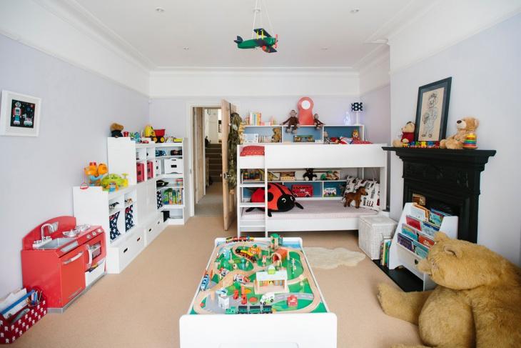 kids playroom and bedroom storage idea