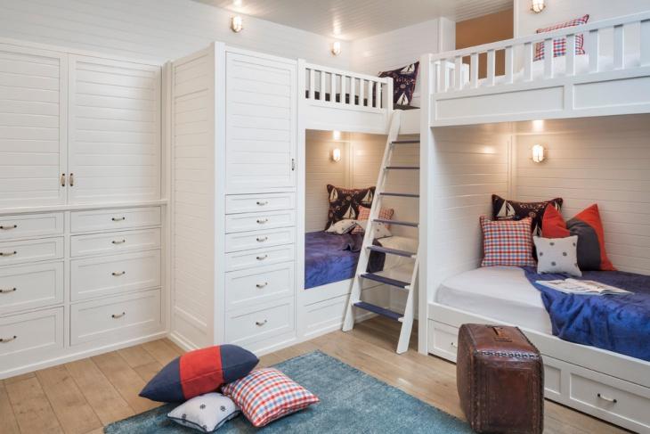 kids bunk bedroom storage idea