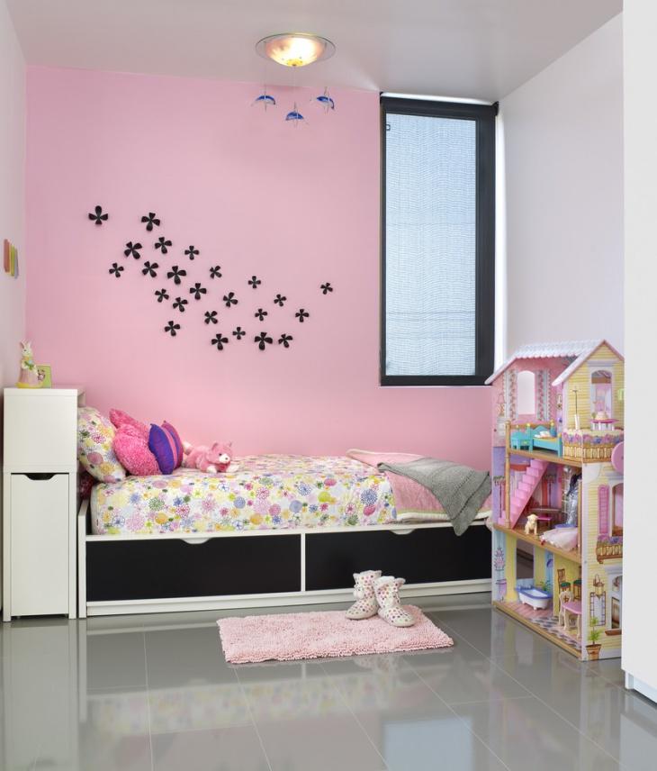 wall art kids bed storage idea
