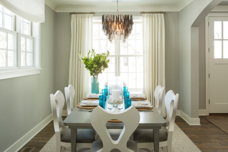 Gray and Turquoise Dining Room