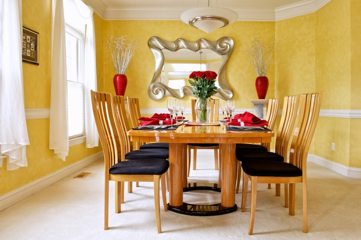Yellow Wall Turquoise Dining Room