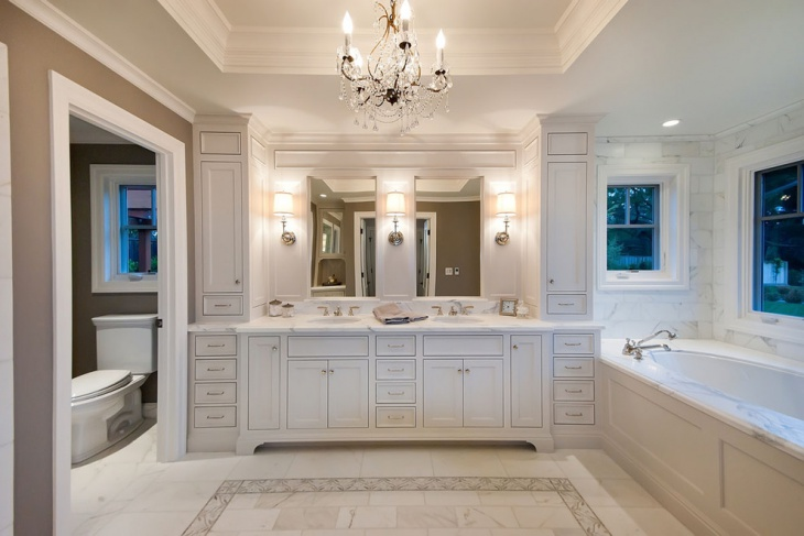 Master Bathroom with Crystal Chandelier Vanity